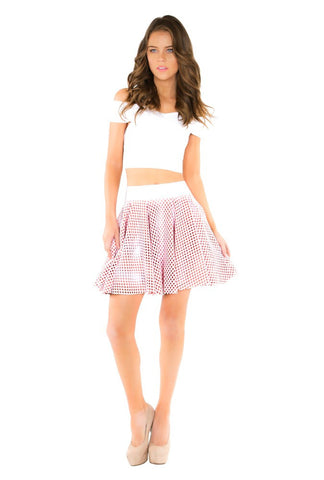 Designer inexpensive online boutique for women - Naughty Grl Playful Circle Skirt With Mesh - Light Coral