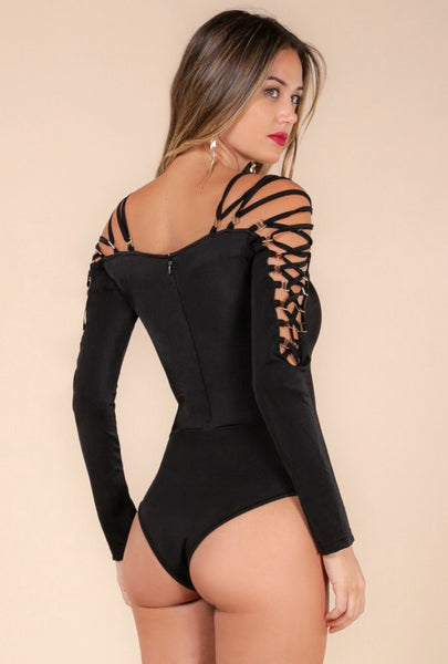 Naughty Grl Strappy Bodysuit - Black