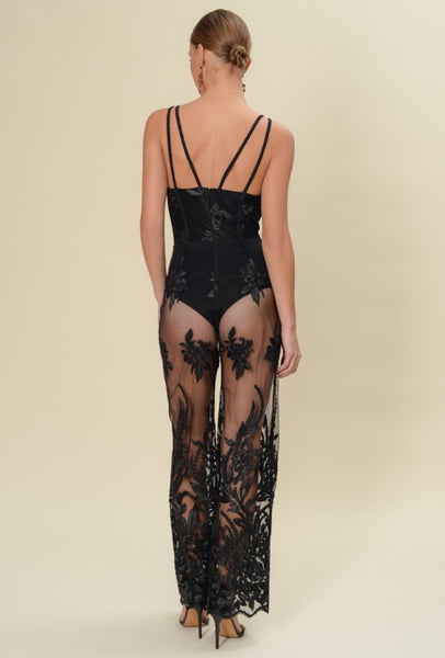 Scallop Lace Double Strapped Jumpsuit - NaughtyGrl