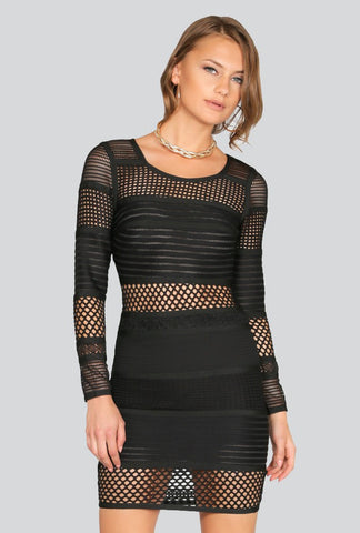Naughty Grl Fringe Bandage Dress - Black