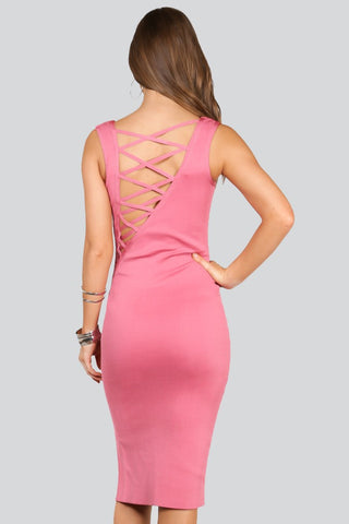 Sheer Front Criss Cross Strappy Back Dress