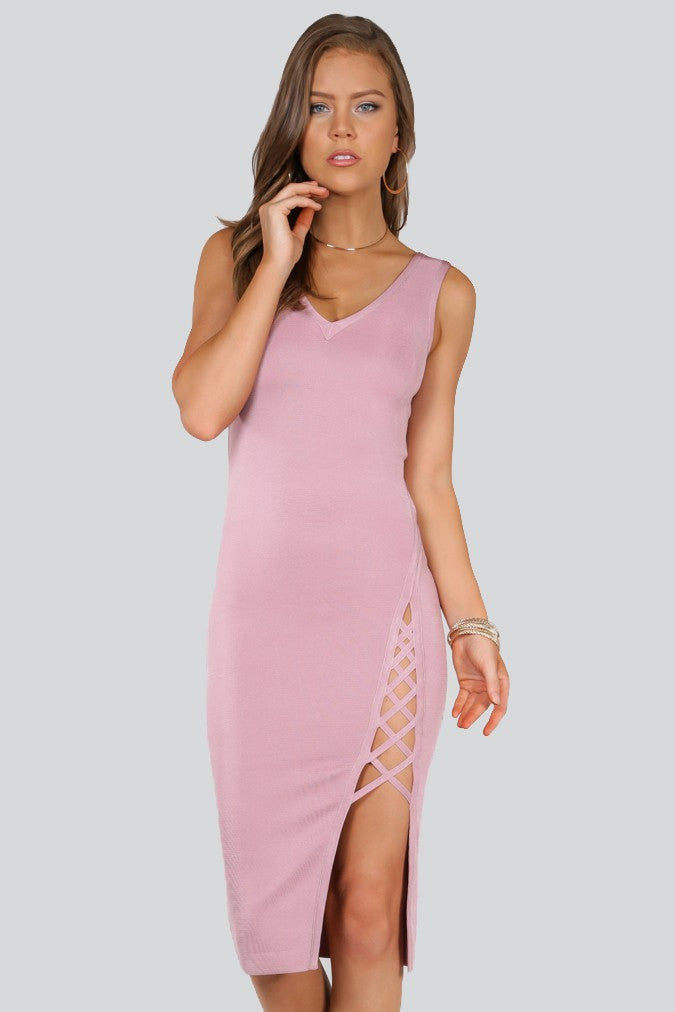 Play Blush Slit Side Dress - NaughtyGrl