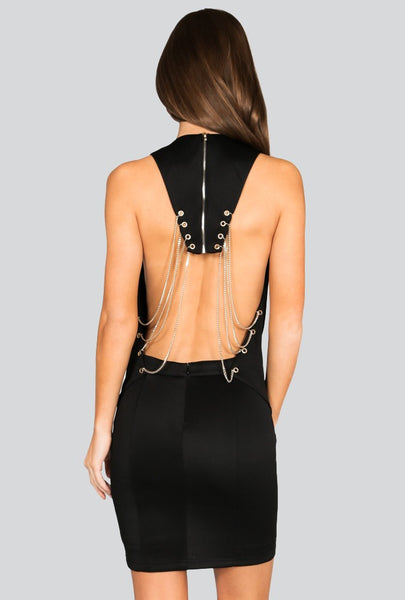 Naughty Grl Stylish Evening Dress With Chains - Black - NaughtyGrl