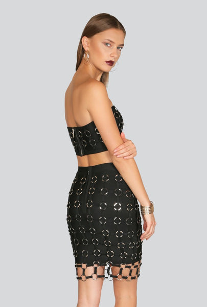 Naughty Grl Bandage Two Piece Dress - Black