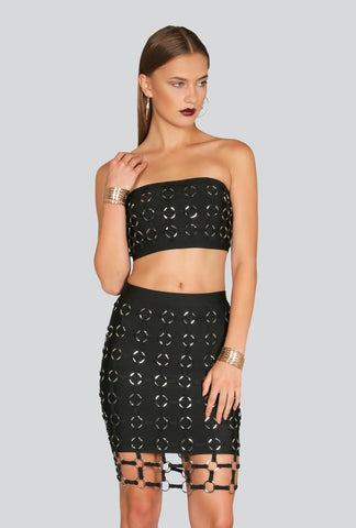 Shop the latest matched set outfits for a style statement - Naughty Grl Bandage Two Piece Dress - Black