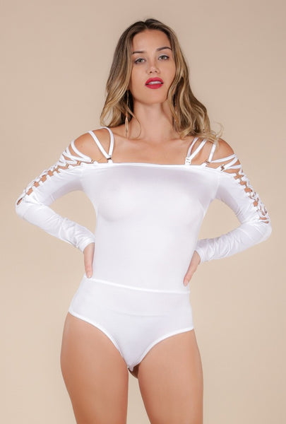 Naughty Grl Strappy Bodysuit - Crystal White