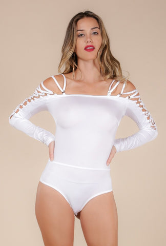 Naughty Grl Strappy Bodysuit - Crystal White - NaughtyGrl