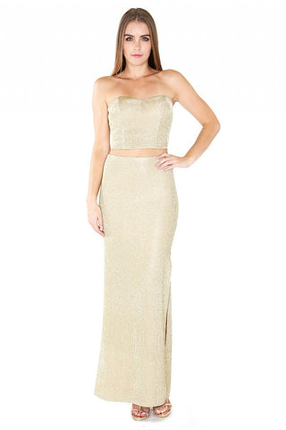 Designer inexpensive online boutique for women - Naughty Grl Charming Two Piece Maxi Set - Gold