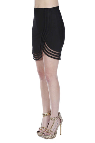 Naughty Grl Fringe Mini Skirt With Chains - Black