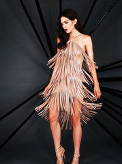 Naughty Grl Sexy Fringe Dress - Metallic Coral - NaughtyGrl