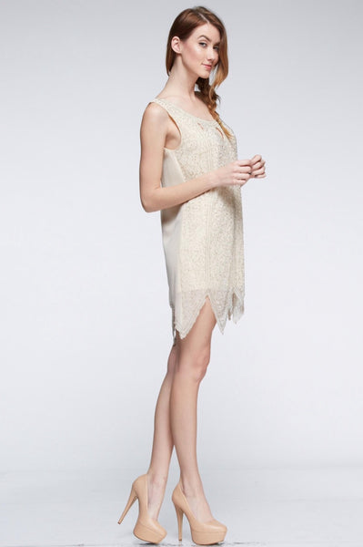 Naughty Grl Elegant Cocktail Dress - Champagne - NaughtyGrl