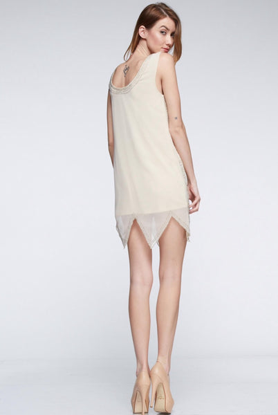 Naughty Grl Elegant Cocktail Dress - Champagne
