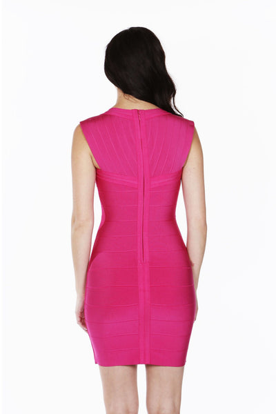 Naughty Grl Cap Sleeve Bandage Dress - Fuchsia - NaughtyGrl