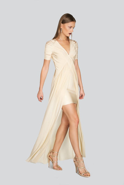 Naughty Grl Sheer V-Neck Maxi Dress - Sand - NaughtyGrl