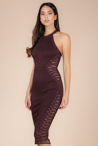 Naughty Grl Elegant & Sheer Bodycon Dress - Black