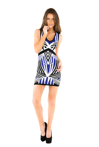 Designer inexpensive online boutique for women - Geometric Jacquard Bandage Dress