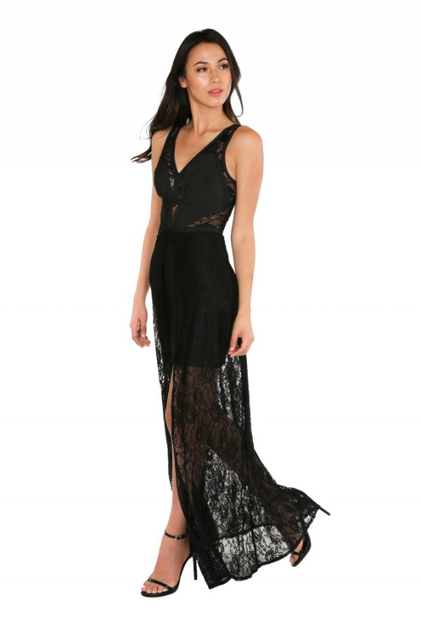 Naughty Grl Elegant Chiffon Maxi Dress - Black - NaughtyGrl
