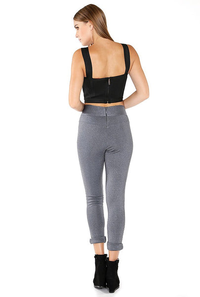Naughty Grl Elegant Leggings With Zipper - Charcoal - NaughtyGrl