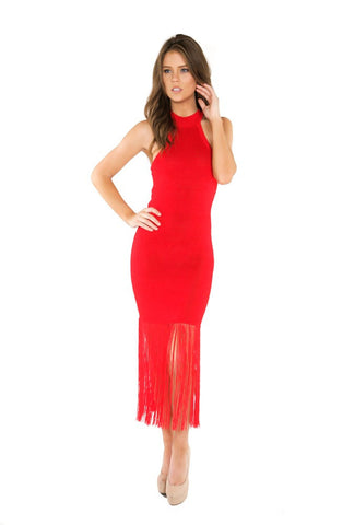 Inexpensive maxi dresses for any occasions - Naughty Grl Sexy Halter Maxi Dress With Fringe - Red