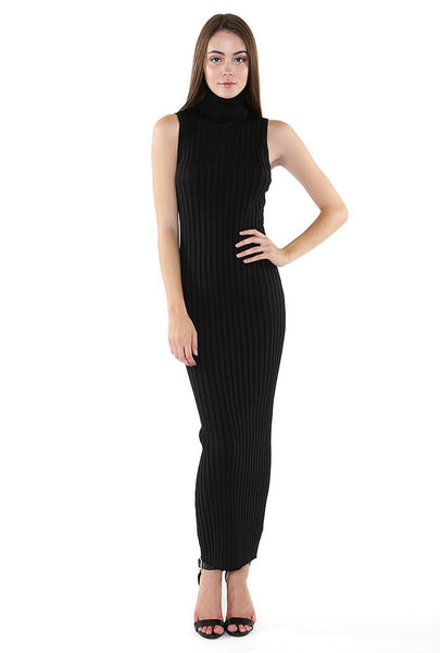 Naughty Grl Classy Turtle Ribbed Midi Dress - Black - NaughtyGrl
