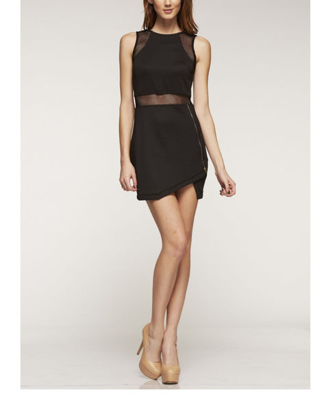 Naughty Grl Fitted Cocktail Mini Dress With Mesh - Black - NaughtyGrl