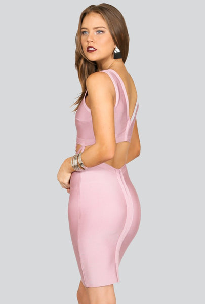 Naughty Grl Elegant & Strappy Bodycon Dress - Blush - NaughtyGrl