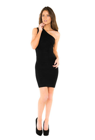 Naughty Grl One Shoulder Formal Dress - Black - NaughtyGrl