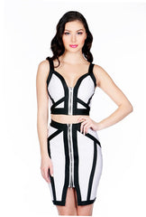 Naughty Grl Two Piece Bandage Dress With Zipper - Black & White