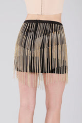 Naughty Grl Fringe Mini Skirt With Chains - Black - NaughtyGrl