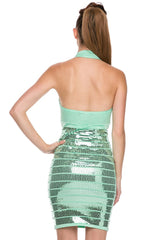 Naughty Grl Sexy Sequin Bandage Dress - Mint