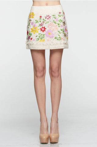 Designer inexpensive online boutique for women - Elegant Embroidry Flower Garden Skirt - NaughtyGrl