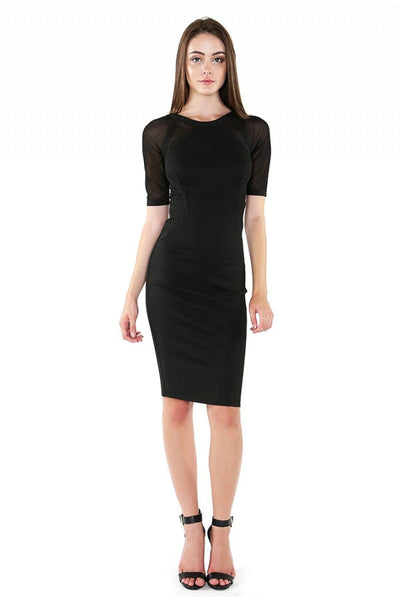 NaughtyGrl Bodycon Dress With Sleeves - Black - NaughtyGrl