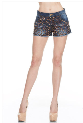 Designer inexpensive online boutique for women - No Competetion Studding Detail Denim Short - NaughtyGrl