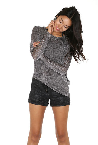 Designer inexpensive online boutique for women - Smoky Grey Lurex Sweater - NaughtyGrl