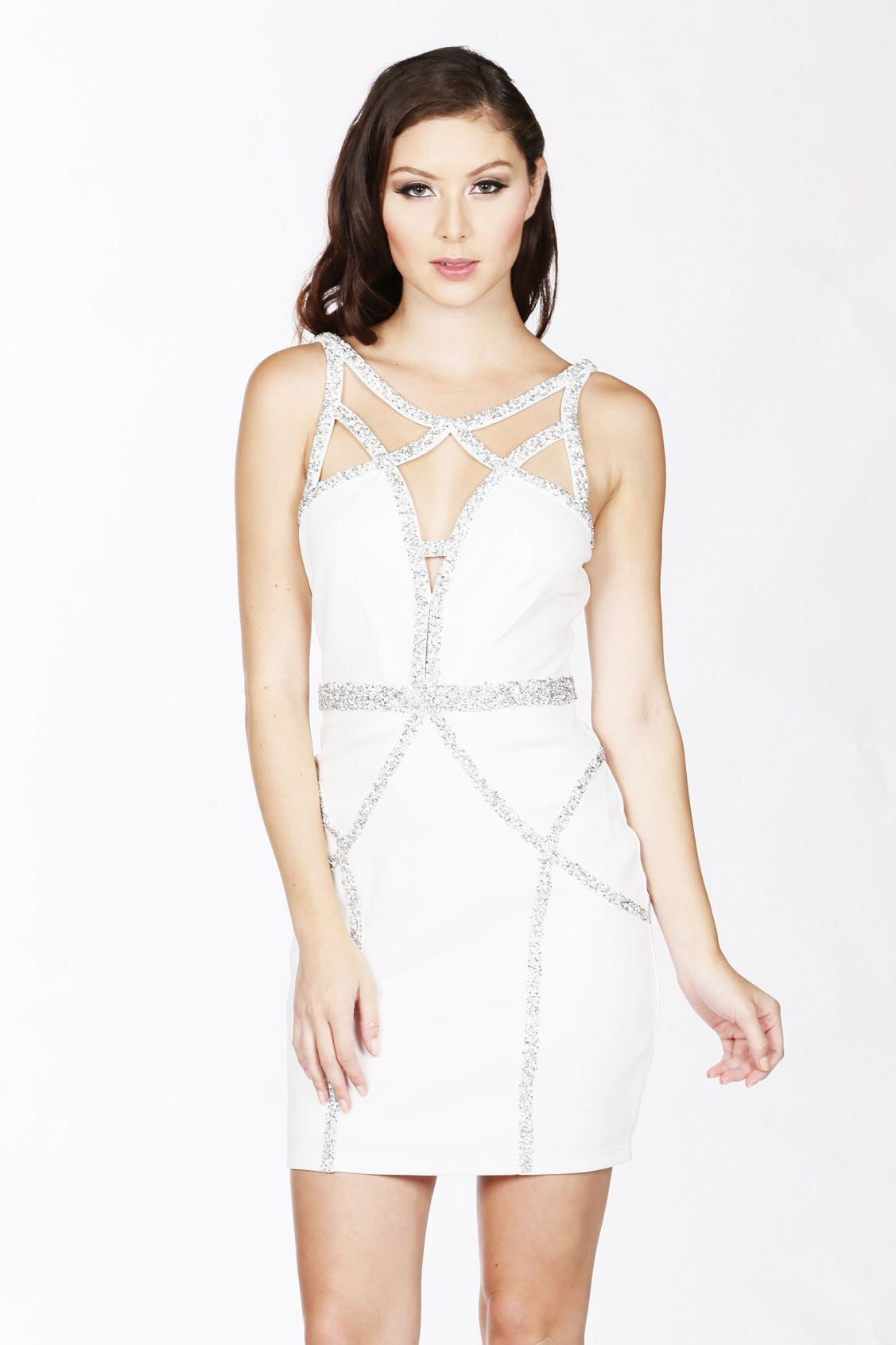 Naughty Grl Sleeveless Halter Cage Bodycon Dress With Rhinestones - White - NaughtyGrl