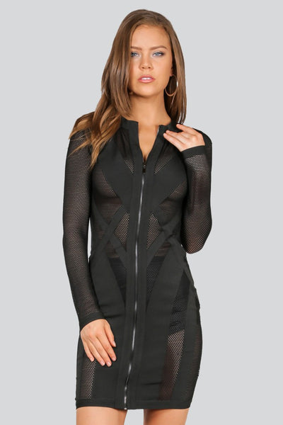 Naughty Grl Mesh Blocked Dress - Black - NaughtyGrl