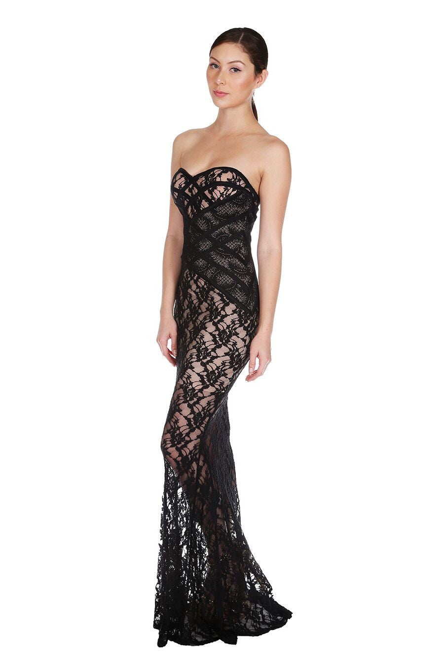 Naughty Grl Evening Lace Maxi Dress - Black - NaughtyGrl