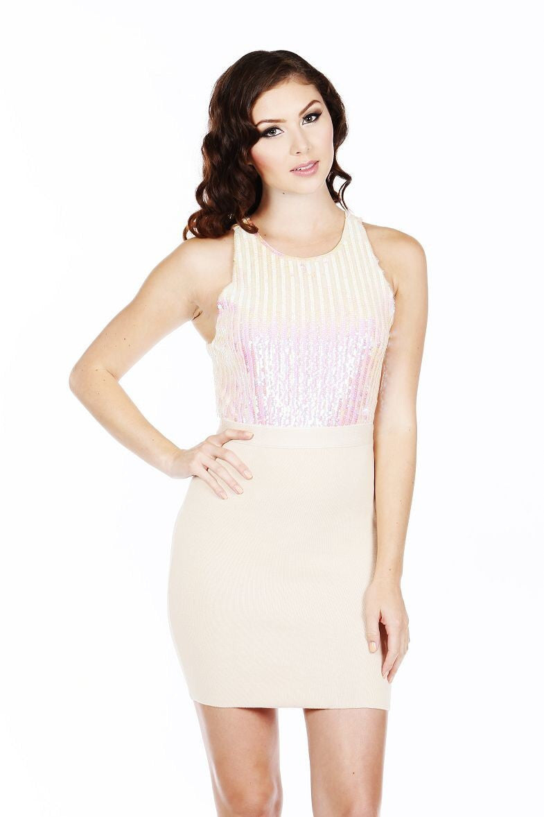 Naughty Grl Classic Sequin Bodycon Dress - Clear - NaughtyGrl