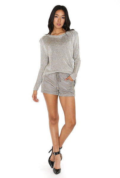 Smoky Grey Lurex Sweater - NaughtyGrl