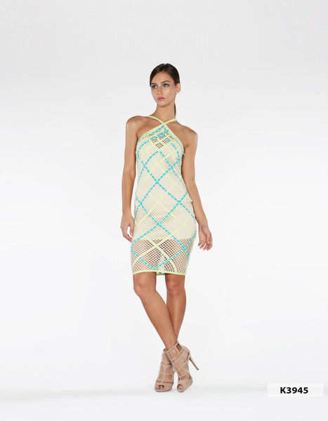 Naughty Grl Halter Basket Weave Midi Dress - Teal - NaughtyGrl
