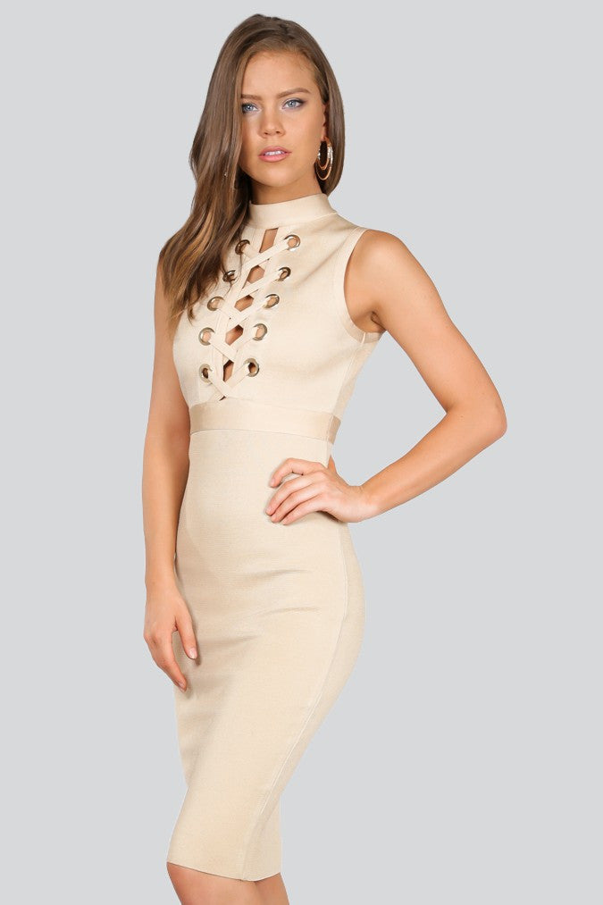 Naughty Grl Elegant Lace Up Bandage Dress - Sand & Light Gold - NaughtyGrl
