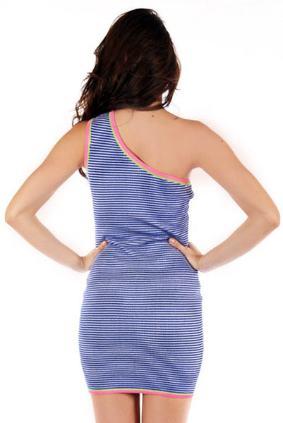 Naughty Grl One Shoulder Bandage Dress - Blue - NaughtyGrl