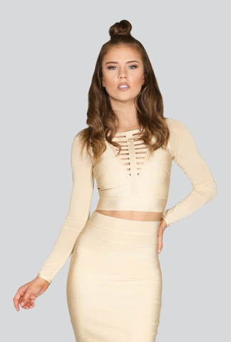 Naughty Grl Long Sleeve Bandage Top - Sand - NaughtyGrl