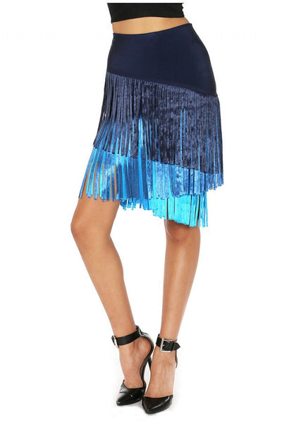 Naughty Grl High Waisted Fringed Skirt - Blue