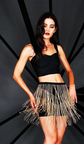 Designer inexpensive online boutique for women - Naughty Grl Fringe Mini Skirt With Chains - Black - NaughtyGrl