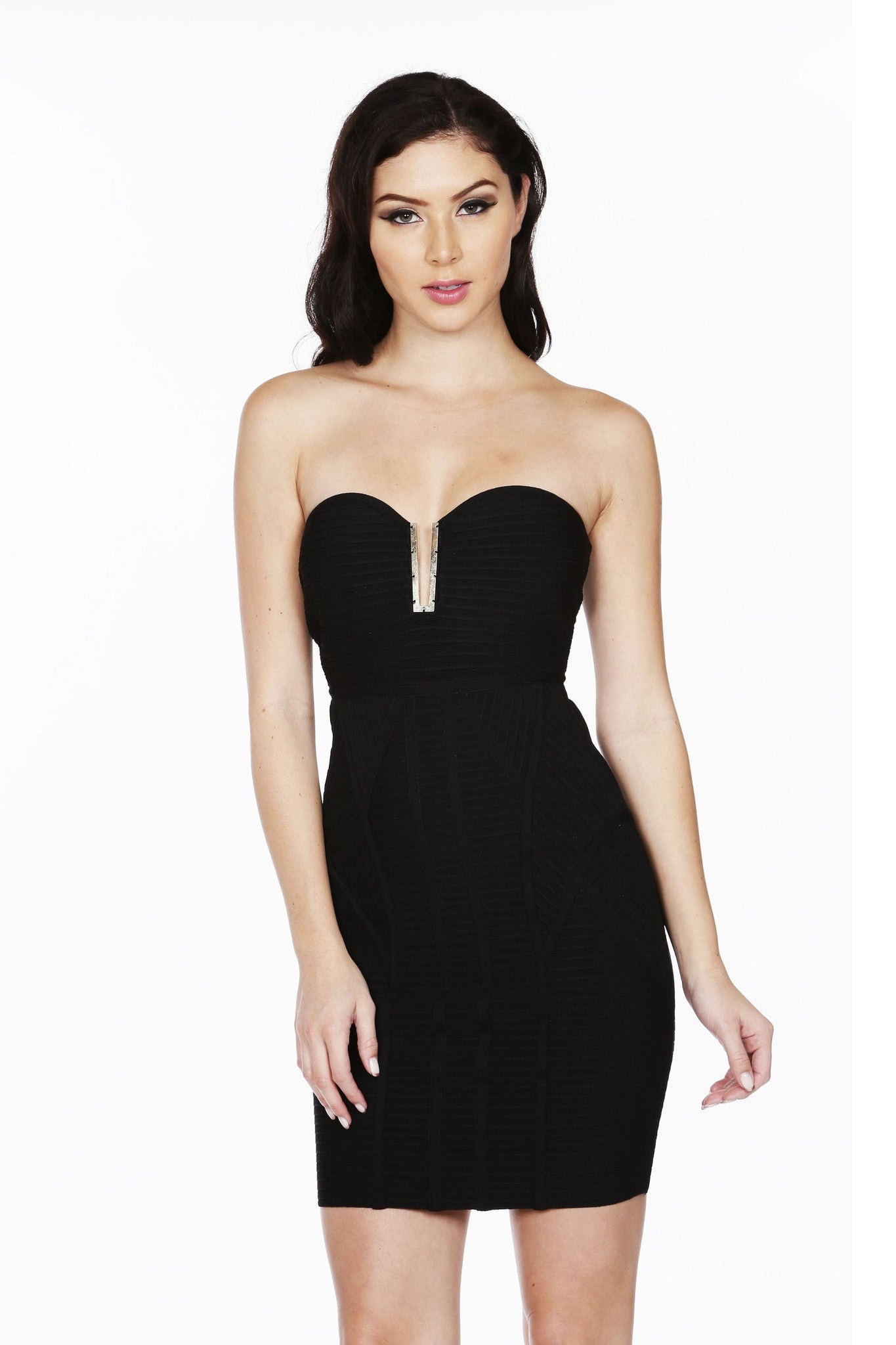 Naughty Grl Playful & Strapless Bandage Dress - Black - NaughtyGrl