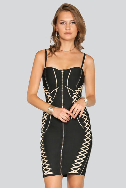 Naughty Grl Classic Bodycon Lace Up Dress - Black & Sand - NaughtyGrl