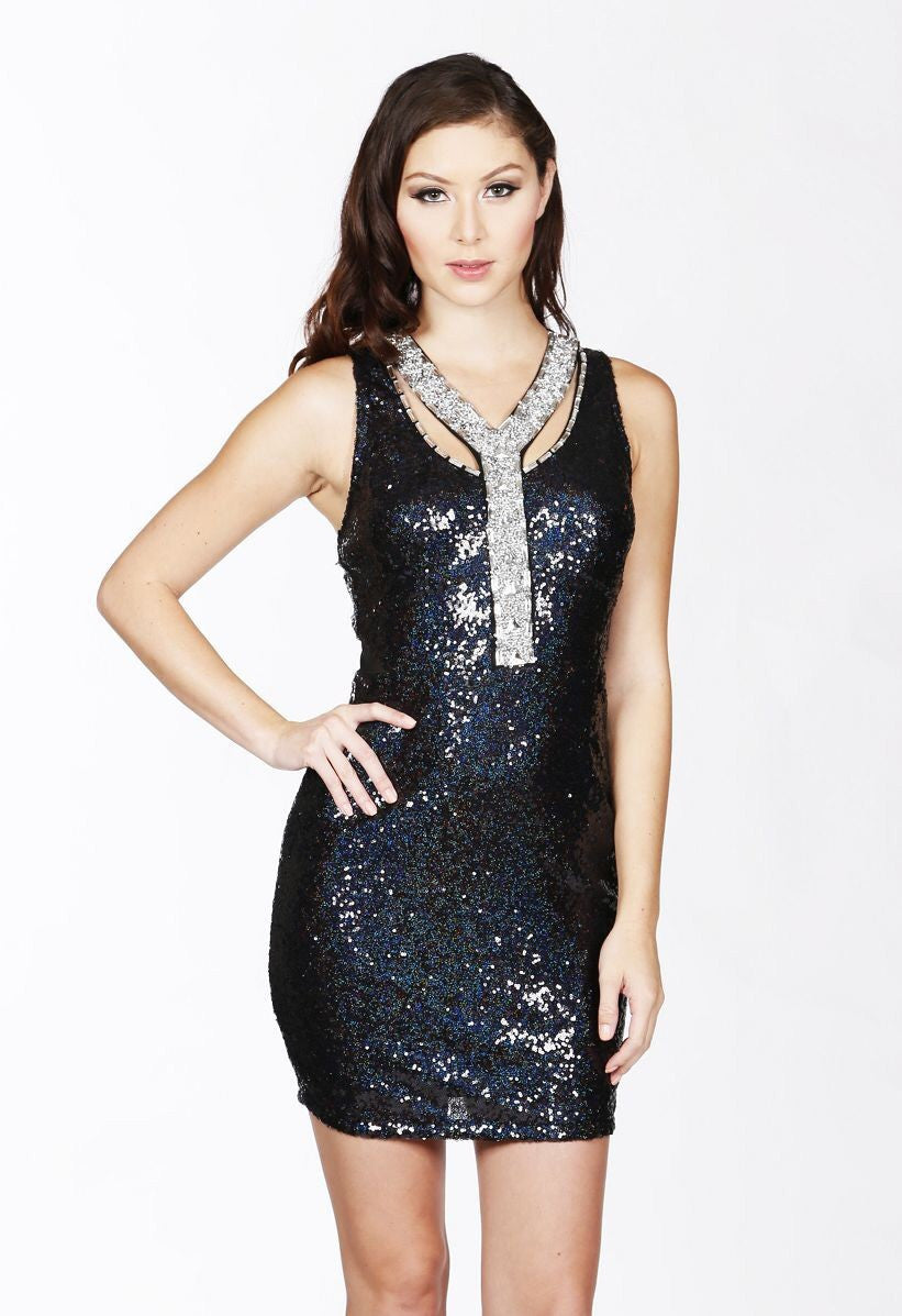 Naughty Grl Flirty Double Sequin Dress - Black - NaughtyGrl