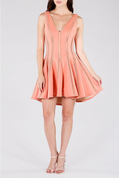 Naughty Grl Fit & Flare Party Dress - Peach