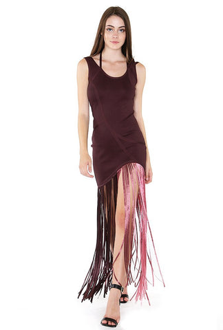 Inexpensive maxi dresses for any occasions - Naughty Grl Elegant Gown With Fringe - Dark Oak